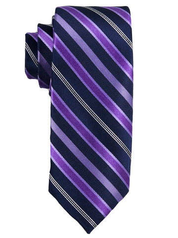 Heritage House 25649 100% Silk Boy's Tie - Stripe - Purple/Navy Boys Tie Heritage House