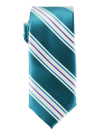 Heritage House 25795 100% Silk Boy's Tie - Stripe - Turquoise/Purple Boys Tie Heritage House