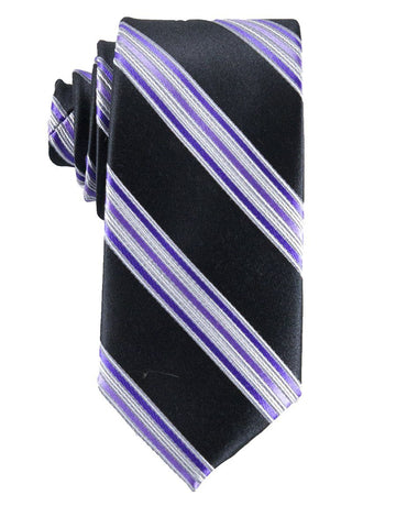 Heritage House 25801 100% Silk Boy's Tie - Stripe - Black/Purple Boys Tie Heritage House