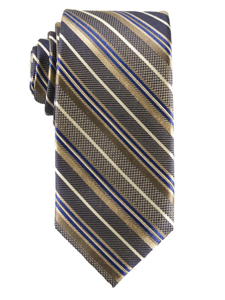 Heritage House 25810 100% Silk Boy's Tie - Stripe - Khaki/Blue
