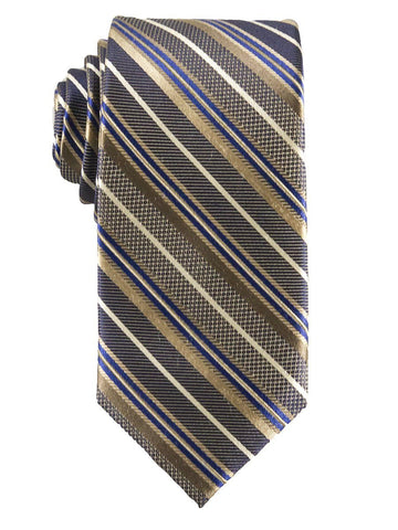 Heritage House 25810 100% Silk Boy's Tie - Stripe - Khaki/Blue Boys Tie Heritage House