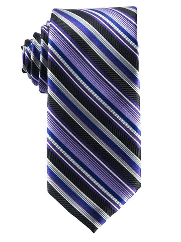 Heritage House 25832 100% Silk Boy's Tie - Stripe - Purple/Blue/Black Boys Tie Heritage House
