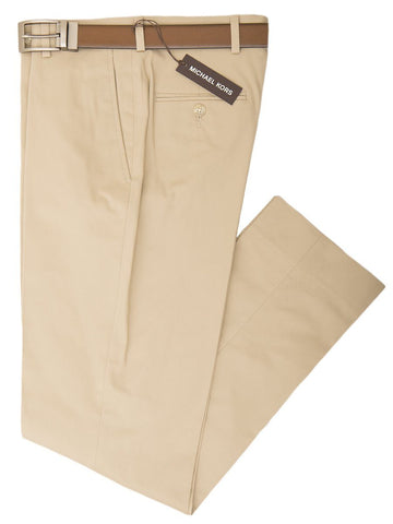 Michael Kors 26050 Boy's Pant - Cotton Poplin - Khaki, Plain Front Boys Casual Pant Michael Kors
