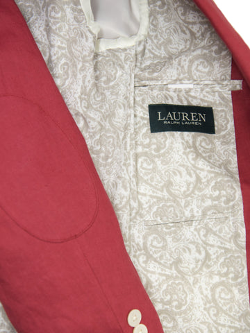 Image of Lauren Ralph Lauren 26101 100% Linen Boy's Suit Separate Jacket - Solid Linen - Red Boys Suit Separate Jacket Lauren