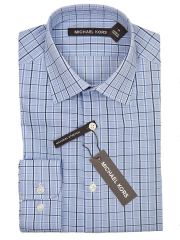 Michael Kors Boy's Dress Shirt 26166 Blue Check Boys Dress Shirt Michael Kors