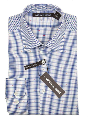 Michael Kors Boy's Dress Shirt 26173 Blue/White Check Boys Dress Shirt Michael Kors
