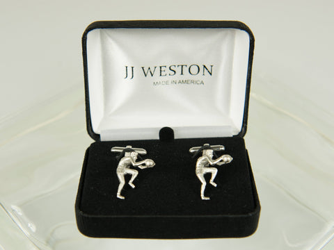 Boy's Cuff Links 26178 Silver Basketball Player Boy's Cuff Links JJ Weston