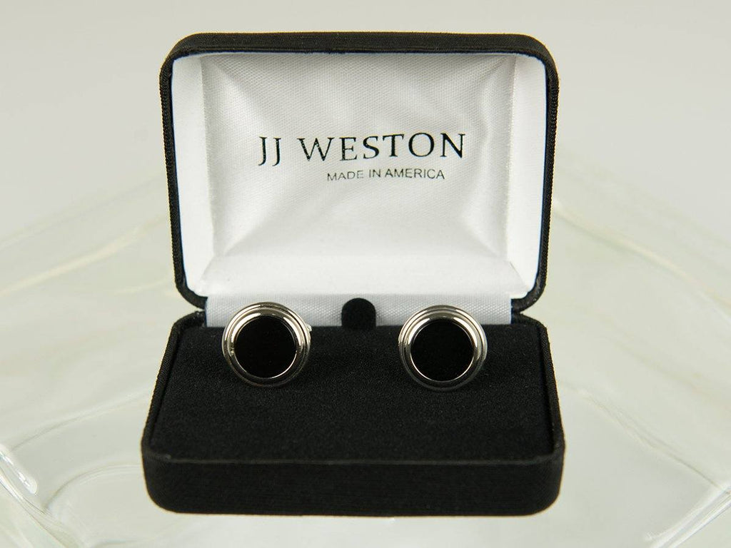 Boy's Cuff Links 26179 Silver with Onyx Boy's Cuff Links JJ Weston