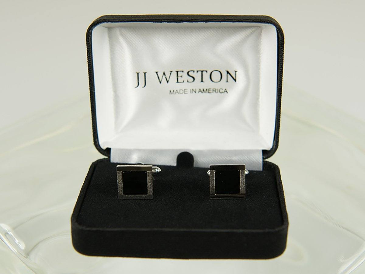 Boy's Cuff Links 26180 Silver with Onyx