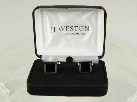 Boy's Cuff Links 26180 Silver with Onyx Boy's Cuff Links JJ Weston