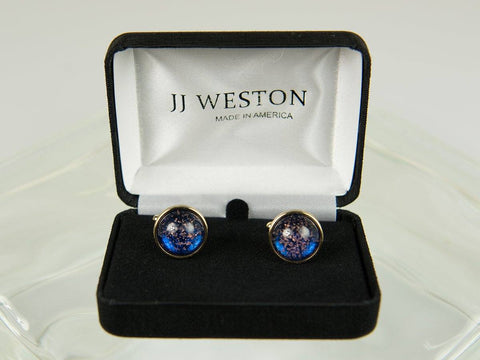 Boy's Cuff Links 26181 Gold with Blue Art Glass Boy's Cuff Links JJ Weston