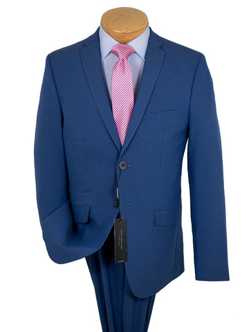 Andrew Marc 26241 47% Cotton / 40% Polyester / 10% Viscose / 3% Spandex Boy's Skinny Fit Suit - Seersucker-stripe - Blue/Navy - 2-Button Single Breasted Fully Lined Jacket, Plain Front Pants