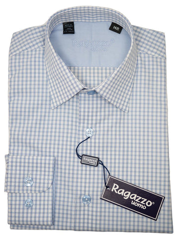 Ragazzo 26278 Boy's Sport Shirt - Cotton - Blue Check, Long Sleeve Boys Sport Shirt Ragazzo