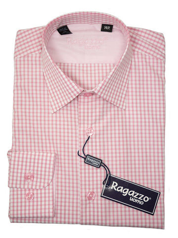 Ragazzo 26285 Boy's Sport Shirt - Cotton - Salmon Check, Long Sleeve Boys Sport Shirt Ragazzo