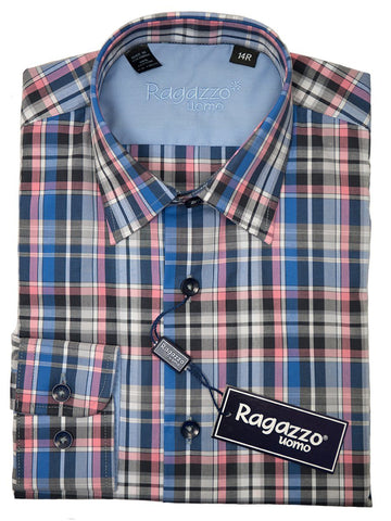 Ragazzo 26292 Boy's Sport Shirt - Cotton - Blue and Pink, Plaid Long Sleeve Boys Sport Shirt Ragazzo