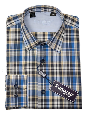 Ragazzo 26299 Boy's Sport Shirt - Cotton - Blue and Khaki, Plaid Long Sleeve Boys Sport Shirt Ragazzo