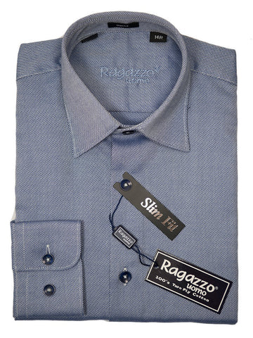 Ragazzo 26306 Boy's Dress Shirt - Blue Weave - Slim Fit Boys Dress Shirt Ragazzo
