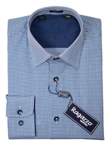 Ragazzo 26313 Boy's Sport Shirt - Cotton - Blue Plaid, Long Sleeve Boys Sport Shirt Ragazzo