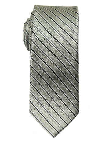 Heritage House 26419 100% Silk Boy's Tie - Stripe - Silver/Black/Grey Boys Tie Heritage House
