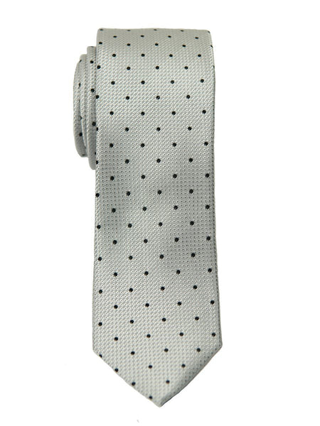 Heritage House 26427 100% Silk Boy's Tie - Polka Dot - Silver/Navy
