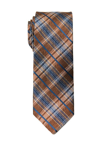 Heritage House 26466 100% Silk Boy's Tie - Plaid - Orange/Blue Boys Tie Heritage House