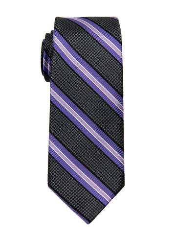 Heritage House 26605 100% Silk Boy's Tie - Stripe -Charcoal/Purple Boys Tie Heritage House