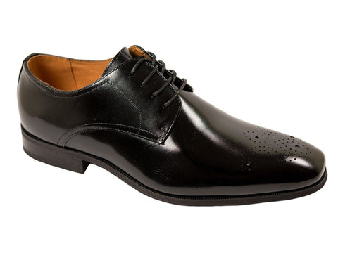 Image of Florsheim 26712 Full-Grain Leather Boy's Shoe - Cap Toe Oxford - Perforated-Black Boys Shoes Florsheim