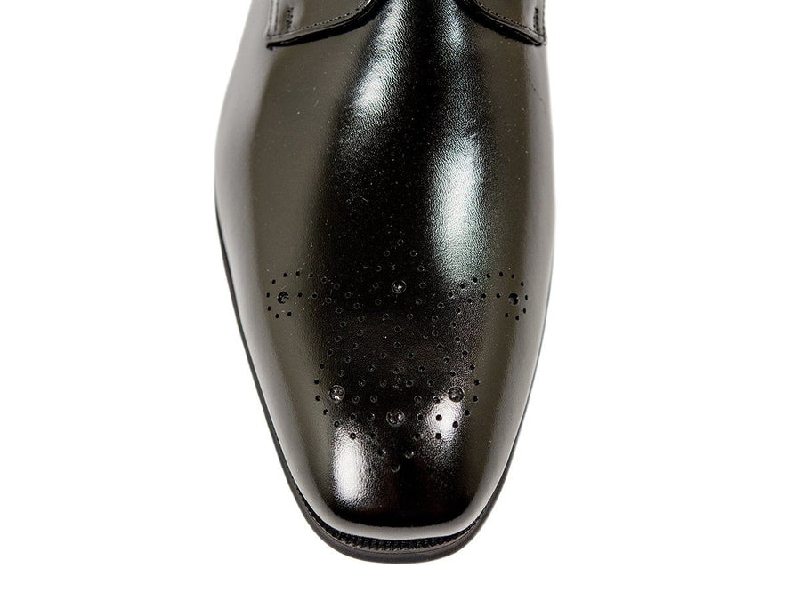 Florsheim 26712 Full-Grain Leather Boy's Shoe - Cap Toe Oxford - Perforated-Black Boys Shoes Florsheim