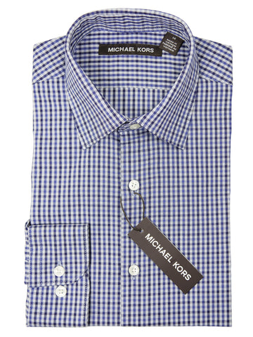 Michael Kors Boy's Dress Shirt 26880 Blue Check Boys Dress Shirt Michael Kors