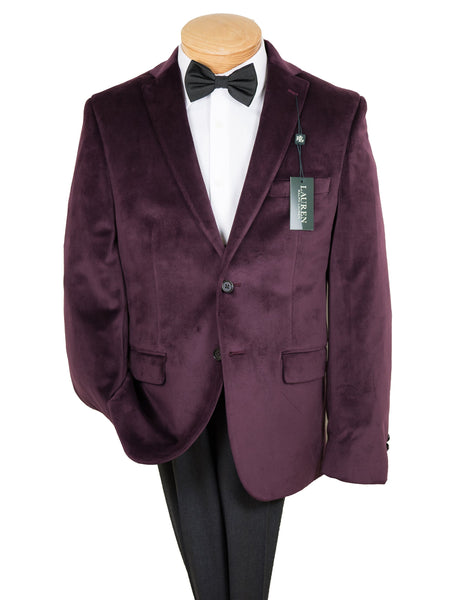 Lauren 26929 Boy's Sport Coat-Burgundy Velvet