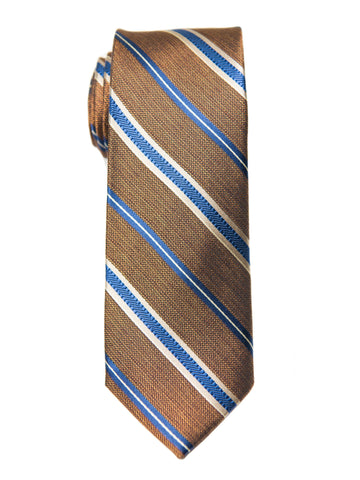 Heritage House 27002 100% Silk Boy's Tie - Stripe - Khaki/Blue Boys Tie Heritage House