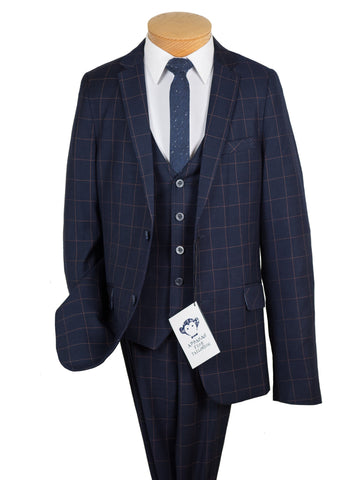 Appaman 27020 Boy's Suit -Skinny Fit- Navy- Windowpane Boys Suit Appaman