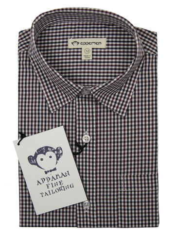 Appaman 27048 Boy's Dress Shirt- Wine/Black- Check Boys Dress Shirt Appaman