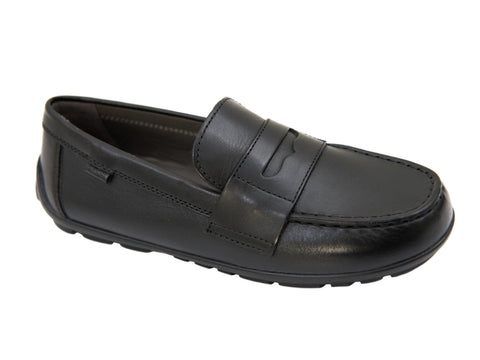 Geox 27163 Boy's Shoe- Driving Penny Loafer- Black Boys Shoes Geox