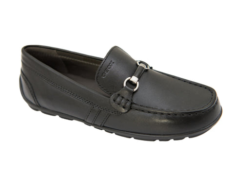 Image of Geox 27185 Boy's Shoe- Driving Bit Loafer-Black Boys Shoes Geox