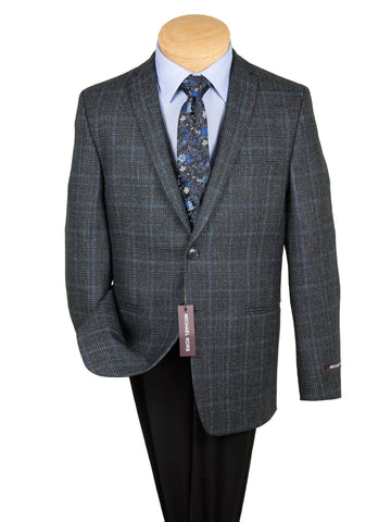 Image of Michael Kors 27266 Boy's Sport Coat - Skinny Fit- Plaid - Charcoal Boys Sport Coat Michael Kors