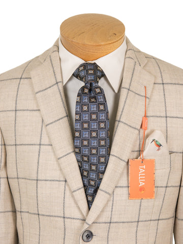 Image of Tallia Boy's Sport Coat 27308 Oatmeal/Grey Plaid Boys Sport Coat Tallia