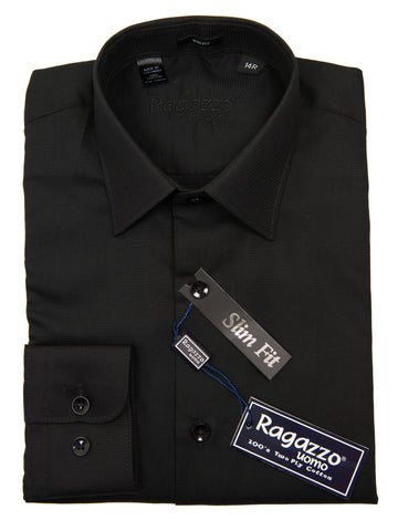 Ragazzo 27335 Boy's Dress Shirt - Slim Fit- Honeycomb Weave- Black Boys Dress Shirt Ragazzo