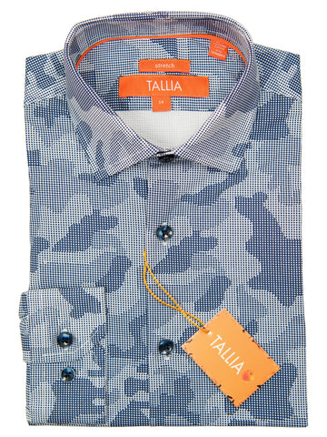 Tallia 27348 Boy's Sport Shirt - Navy-Cross Hatch Camo Boys Sport Shirt Tallia