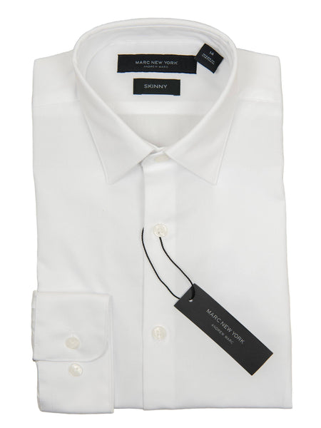 Andrew Marc 27363 Boy's Dress Shirt-White-Skinny Fit-Solid