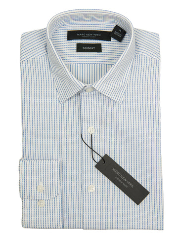 Andrew Marc 27370 Boy's Dress Shirt-White/Blue-Skinny Fit-Broken Stripe Boys Dress Shirt Andrew Marc