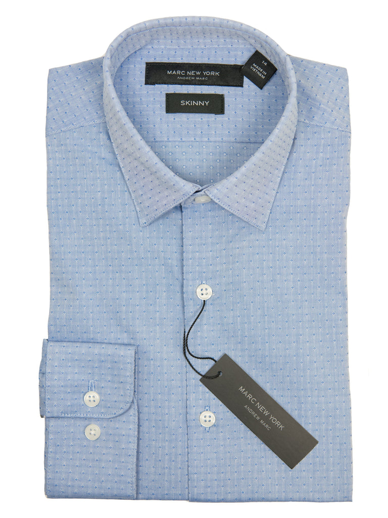 Andrew Marc 27377 Boy's Dress Shirt-Blue-Skinny Fit-Diamond Boys Dress Shirt Andrew Marc