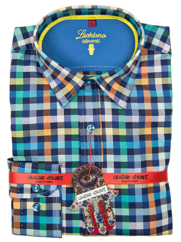 Luchiano Visconti Boy's Sport Shirt 27439 Blue/Orange Plaid Boys Sport Shirt Luchiano Visconti