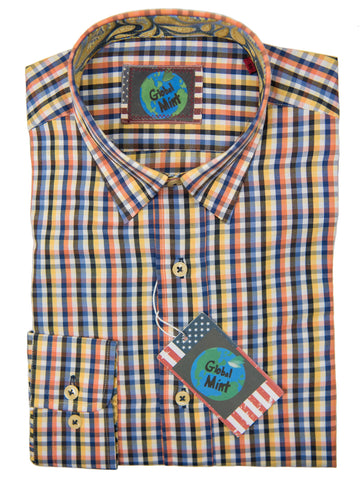 Global Mint by Luchiano Visconti Boy's Sport Shirt 27443 Blue/Yellow/Orange Plaid Boys Sport Shirt Luchiano Visconti