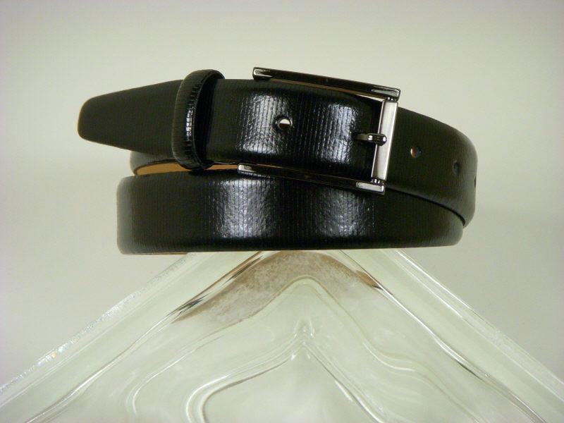 Paul Lawrence 2748 100% leather Boy's Belt - Embossed leather - Black, Silver Buckle Boys Belt Paul Lawrence
