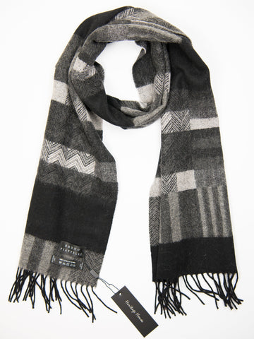Young Men's Scarf 27504 Black/ LightGrey Young Mens Scarf Bruno Piattelli
