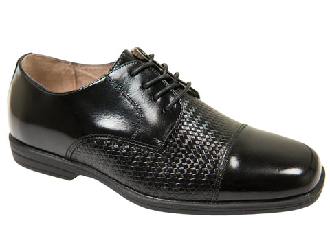 Florsheim 27568 Boy's Shoe-Black-Cap Toe Oxford-Weave Print Boys Shoes Florsheim
