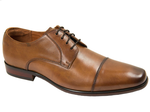 Florsheim 27584 Boy's Dress Shoe- Cap Toe Oxford- Smooth with Perforations- Cognac Boys Shoes Florsheim
