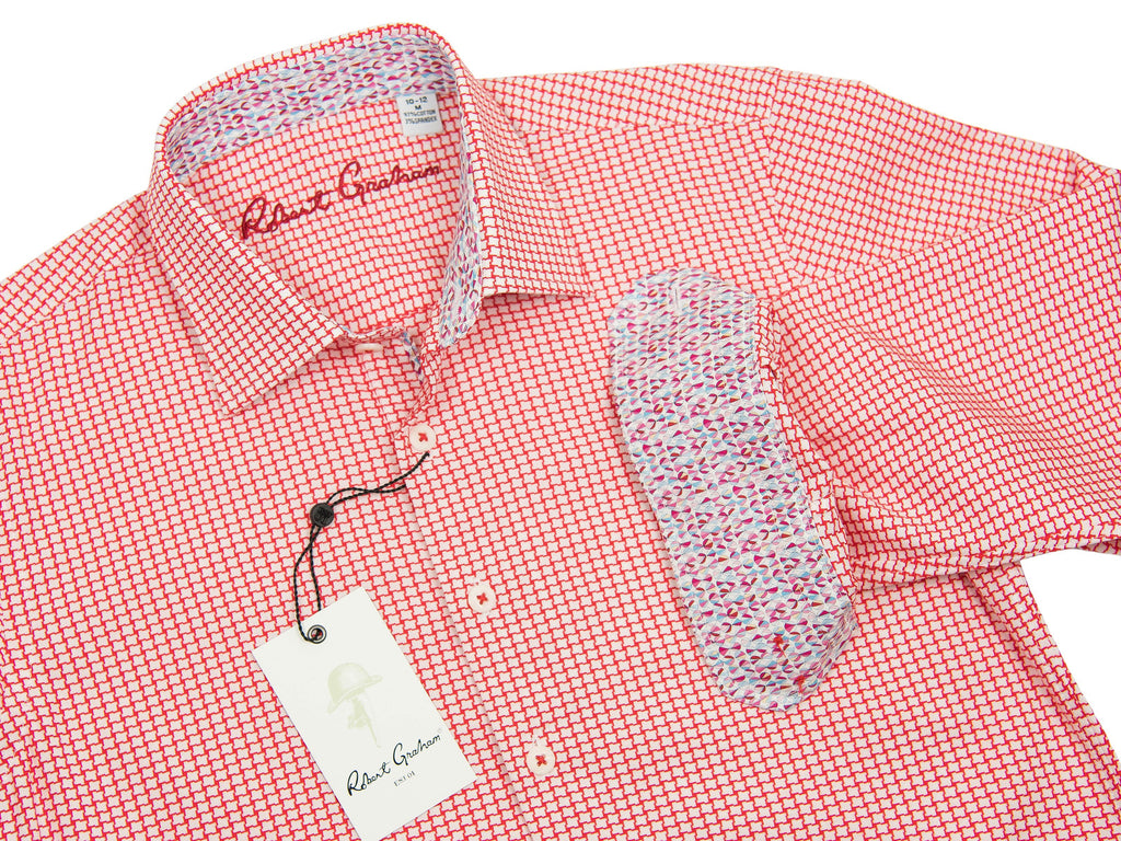 Robert Graham 27643 Boy's Sport Shirt Red Dobby Boys L/S Woven Robert Graham