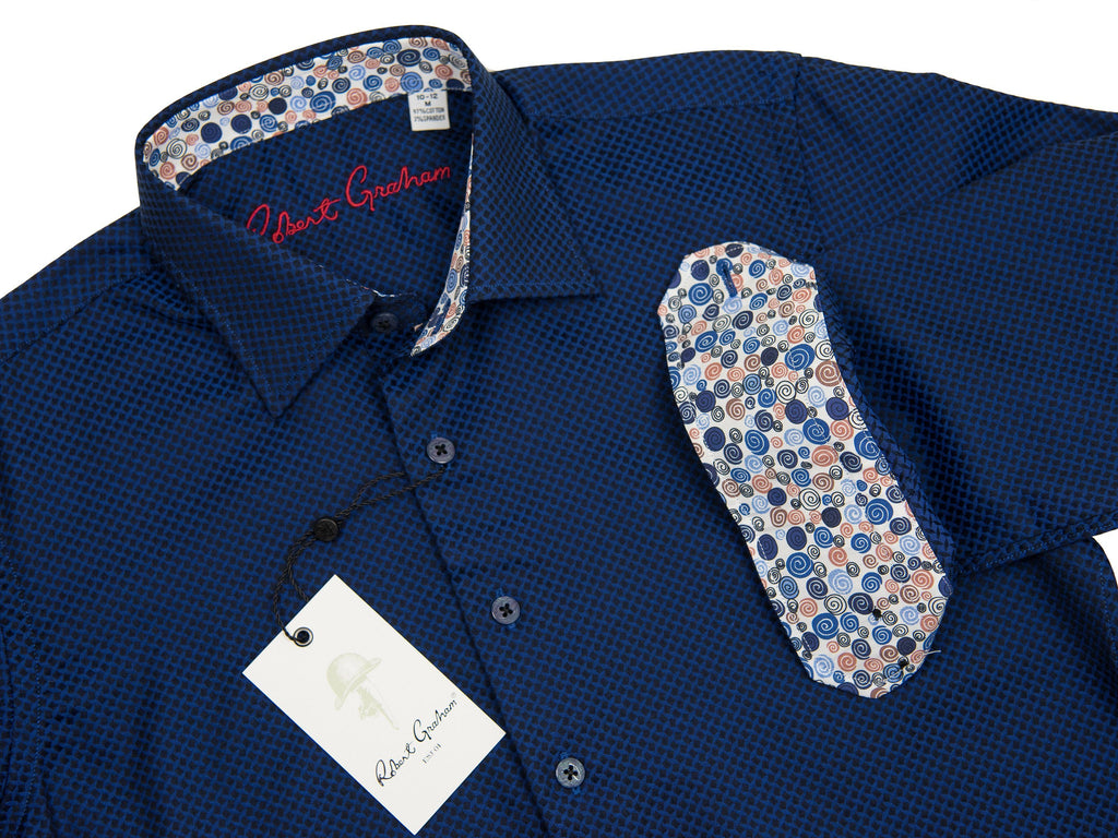 Robert Graham 27648 Boy's Sport Shirt Blue Jacquard Boys L/S Woven Robert Graham